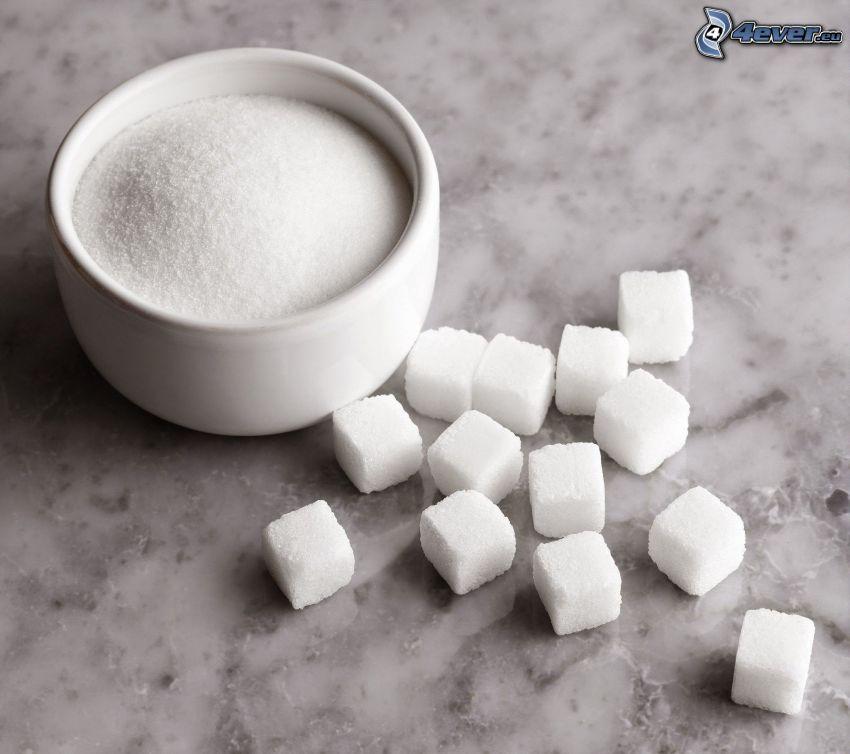 socker, sockerbitar, skål