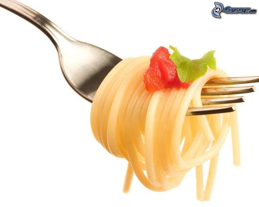 spaghetti, gaffel