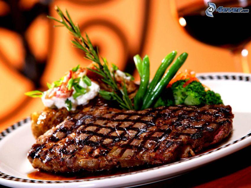 stek, grönsaker