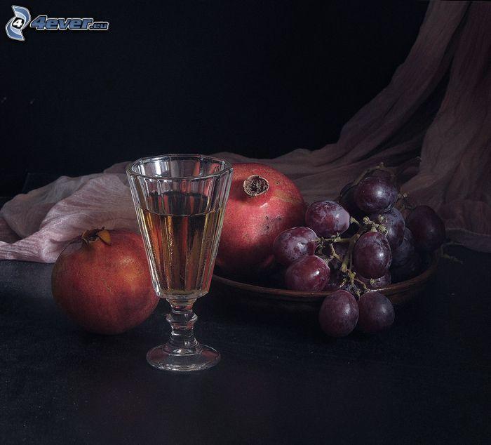 stilleben, dryck, glas, vindruvor, granatäpplen