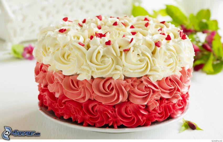 tårta, hjärtan