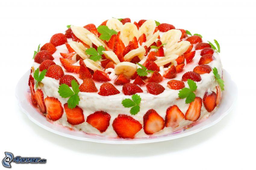 tårta, jordgubbar, banan