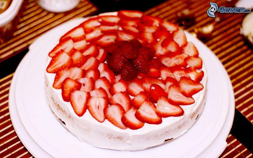 tårta med jordgubbar, fruktbakelse
