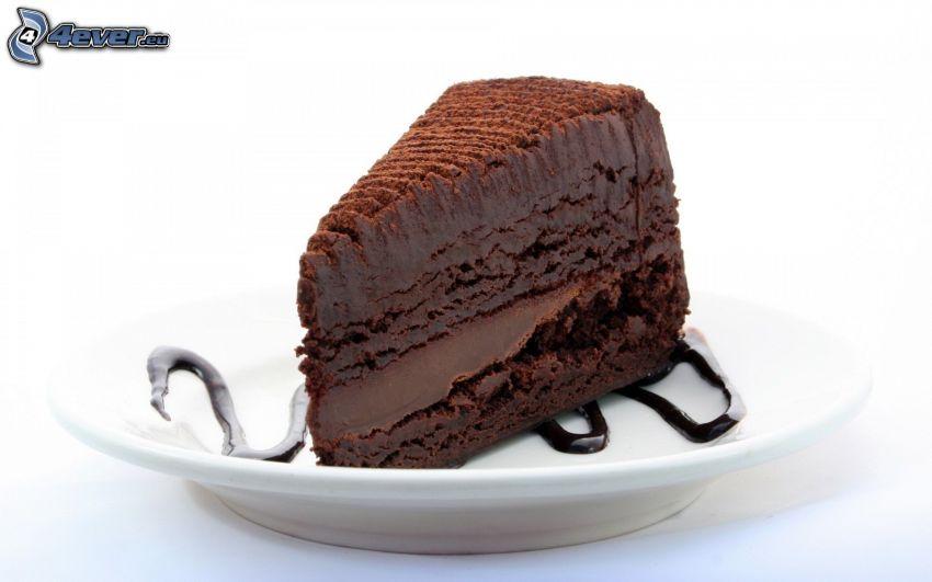 tårtbit, choklad, tallrik, efterrätt