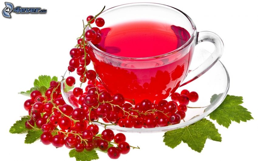 te, röda vinbär