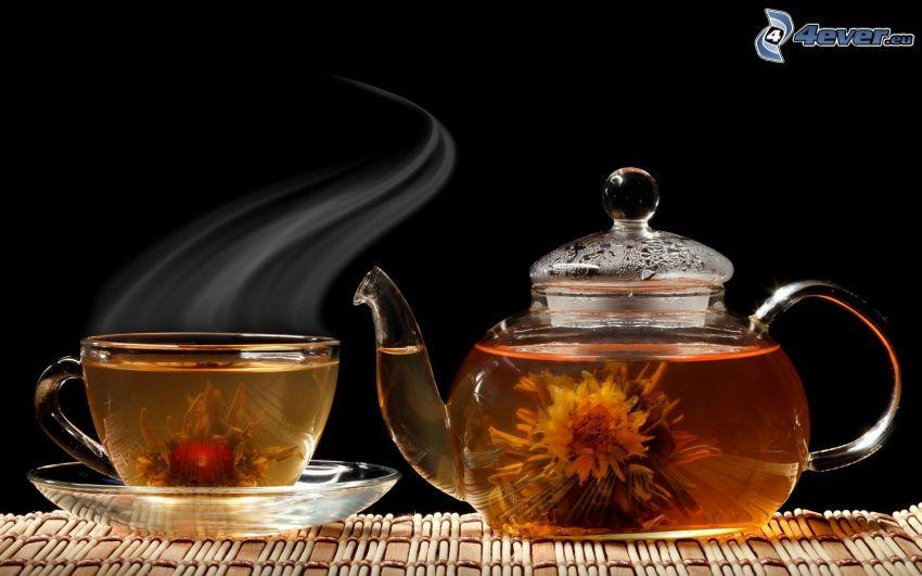 tekanna, kopp, blommor, ånga, blommande te