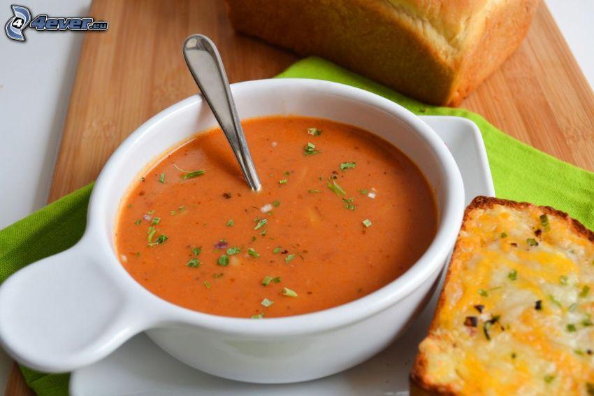 tomatsoppa, bröd