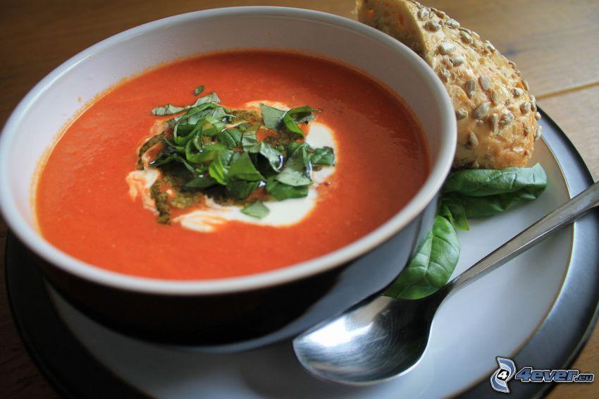 tomatsoppa, sked, basilika