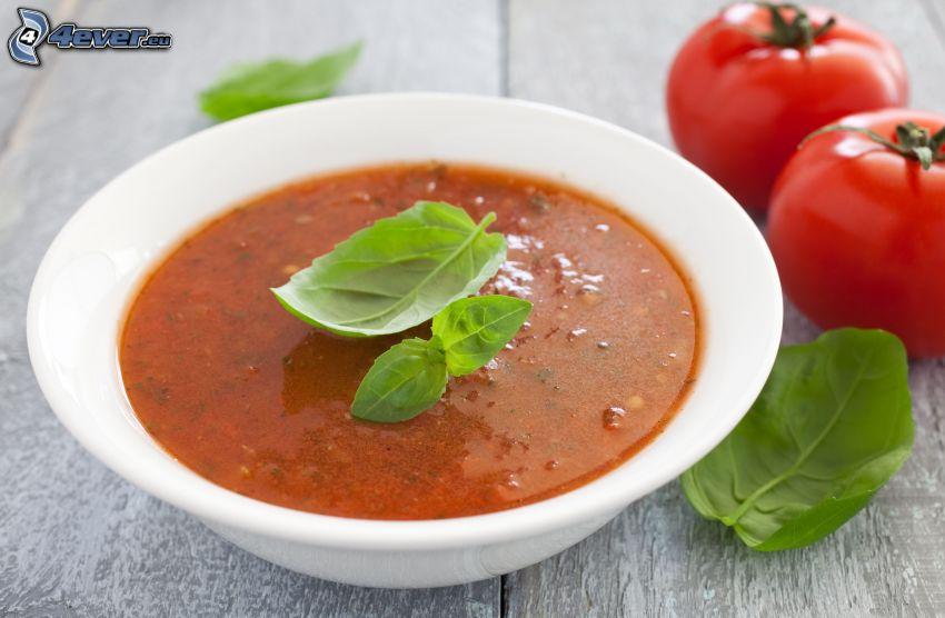 tomatsoppa, tomater, basilika