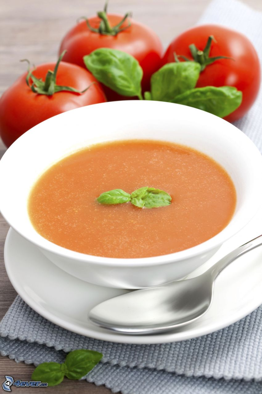 tomatsoppa, tomater, sked