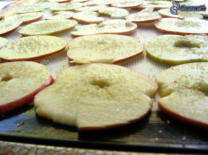 torkade äpplen, socker
