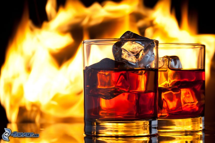 whiskey med is, eld