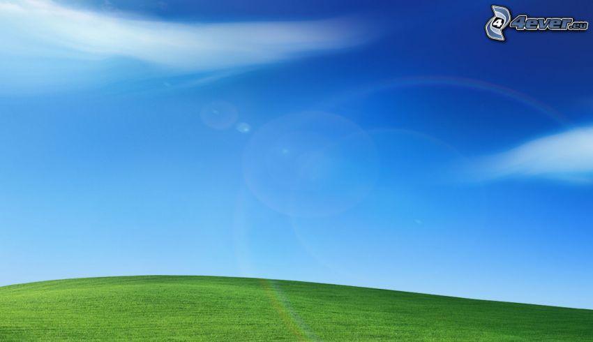 äng, blå himmel