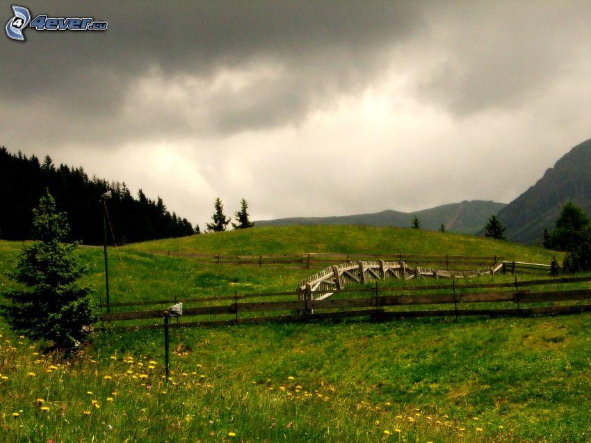 äng, trästaket, staket, kullar, mörka moln