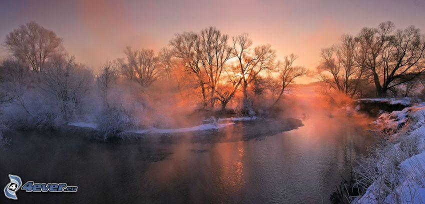 bäck, snö, solnedgång
