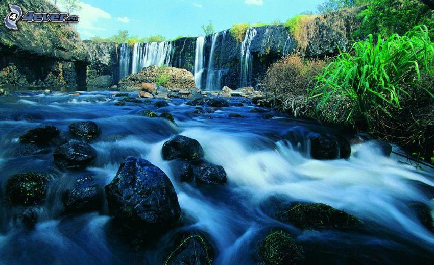 bäck, vattenfall, klippor, grönska