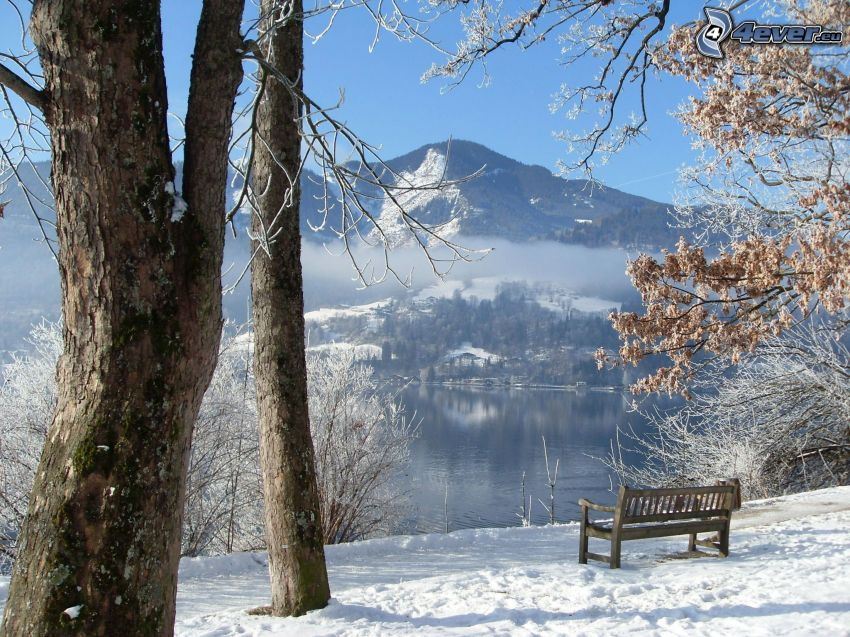 bänk, snöigt landskap, sjö, kulle
