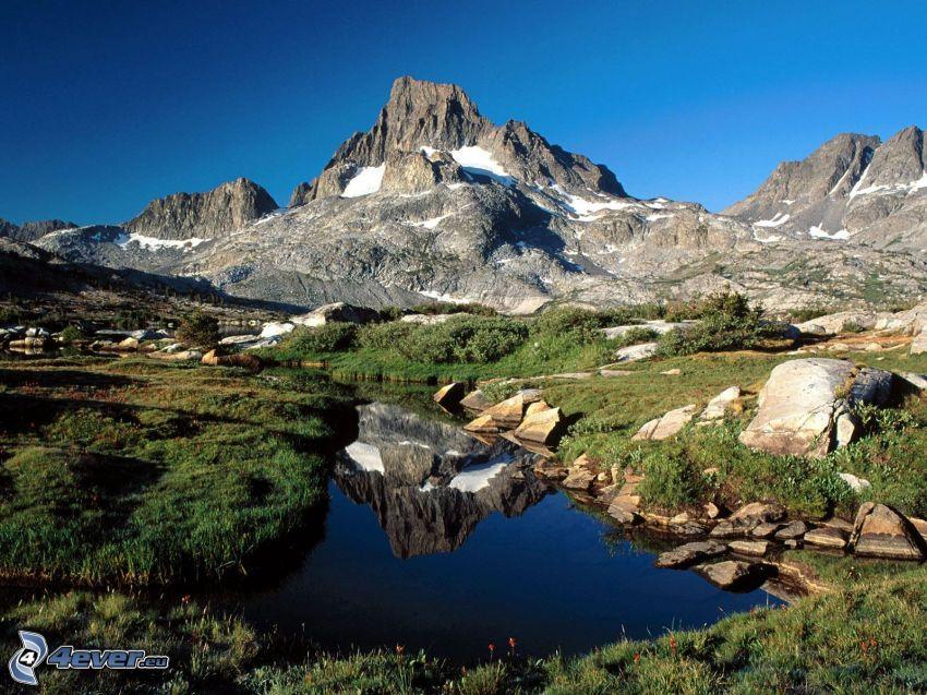 berg, kulle, bäck, himmel, stenar
