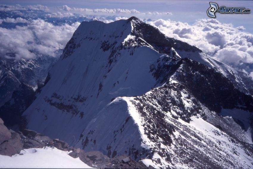 Aconcagua, ovanför molnen, snöklädda berg