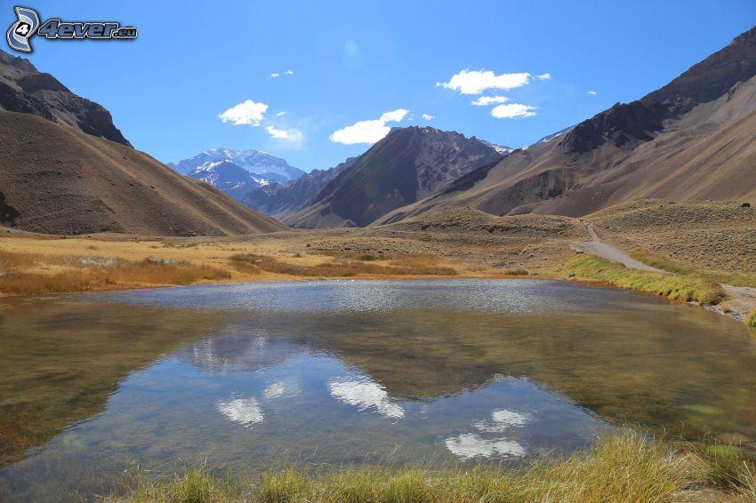 Aconcagua, tjärn, klippiga berg