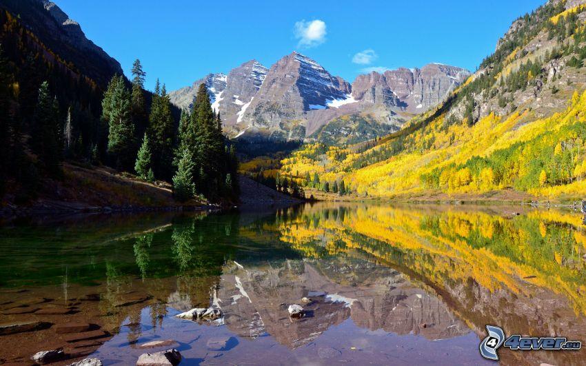 Aspen, Colorado, sjö, skog, gula träd, berg, höst