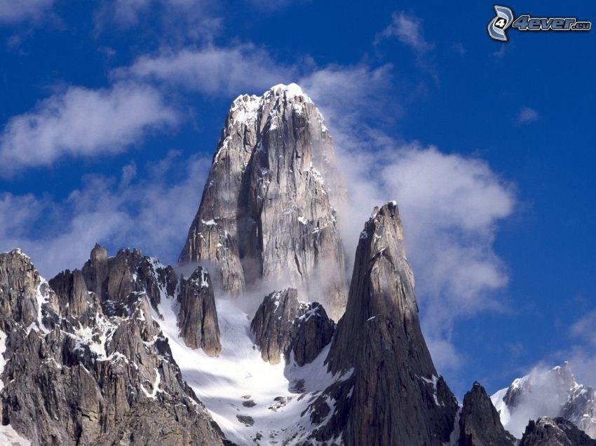 Baltoro, Pakistan, snöig backe, klippor, moln