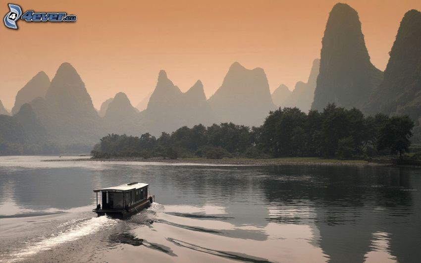 båt på flod, höga berg, Kina