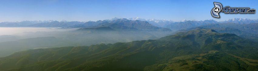 berg, dimma, panorama