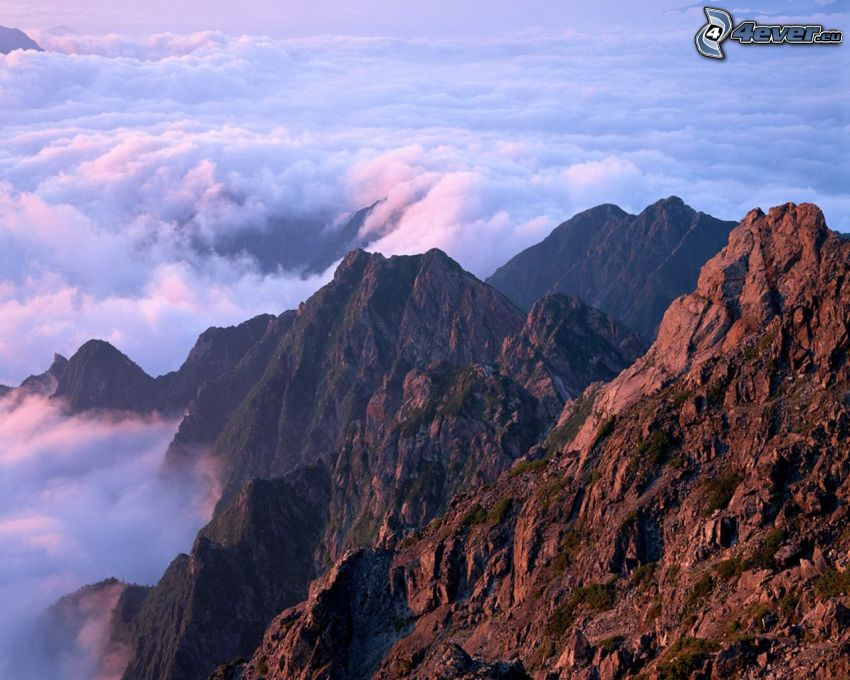 berg, kinesisk natur, dimma, inversion