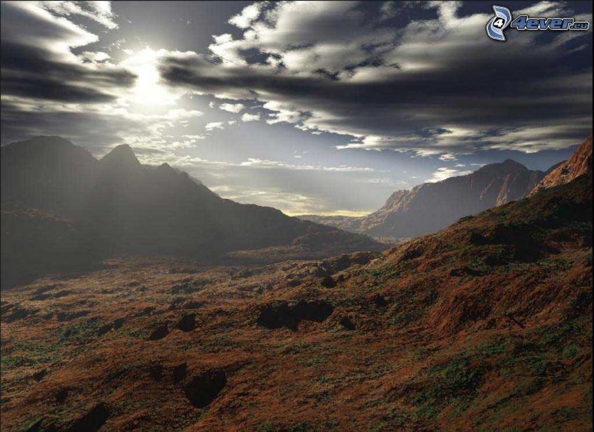berg, moln
