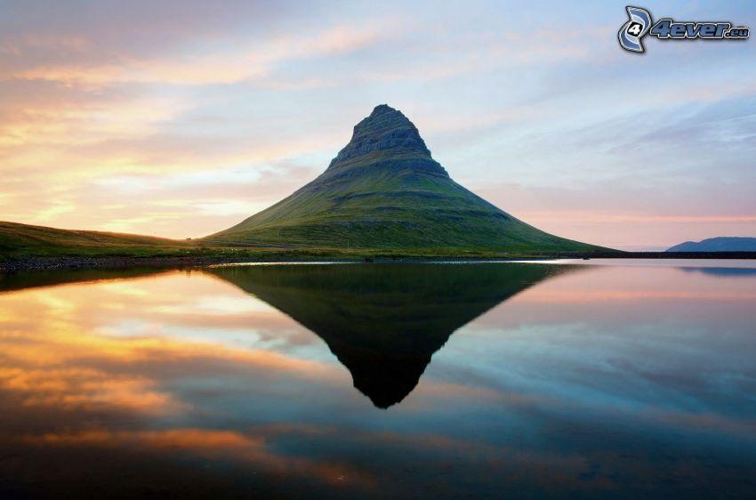berg, sjö, spegling, vacker morgon