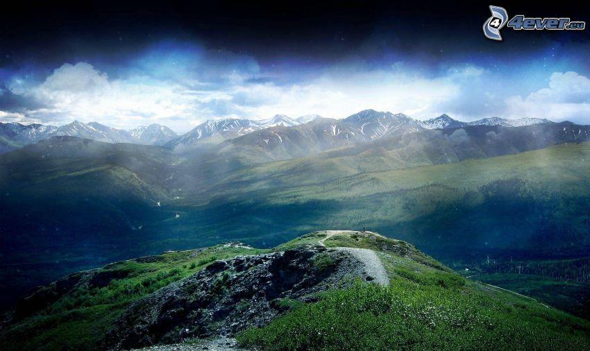 berg, utsikt över landskap