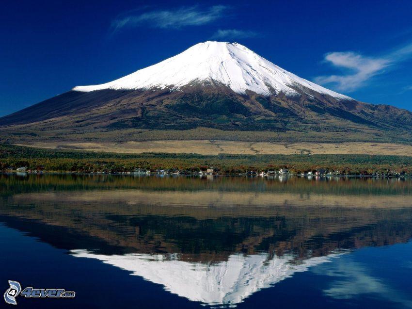 berget Fuji, berg, sjö, spegling