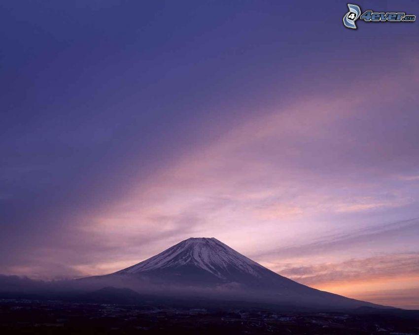 berget Fuji, Japan, lila himmel