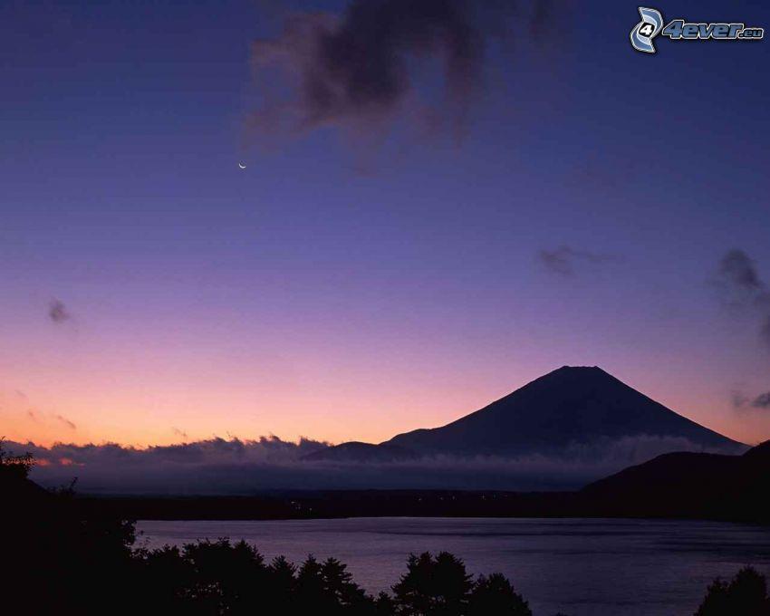 berget Fuji, kväll, natthimmel, måne
