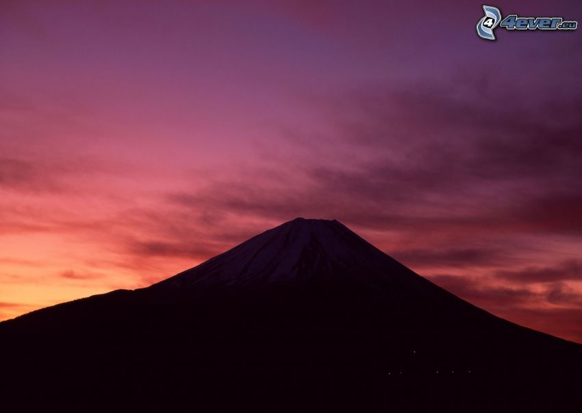 berget Fuji, lila himmel