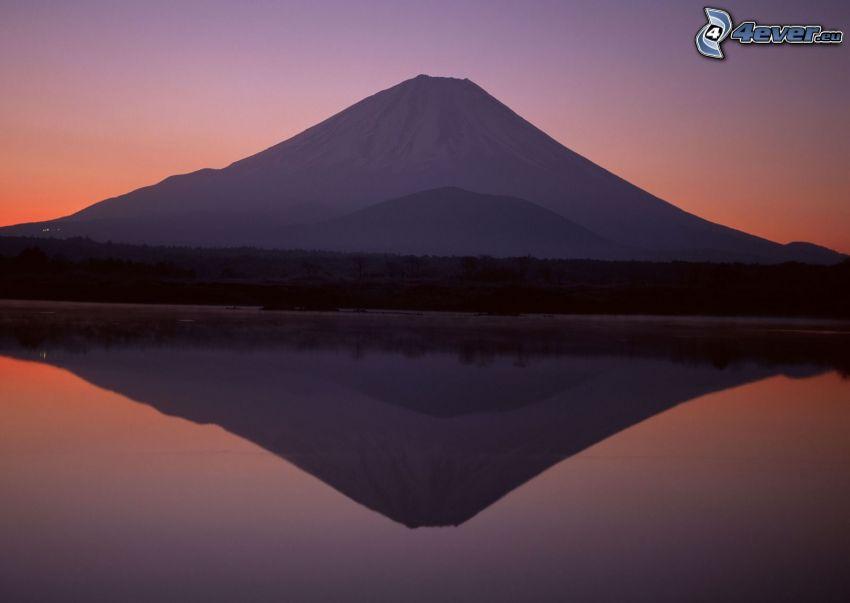 berget Fuji, sjö, spegling, efter solnedgången