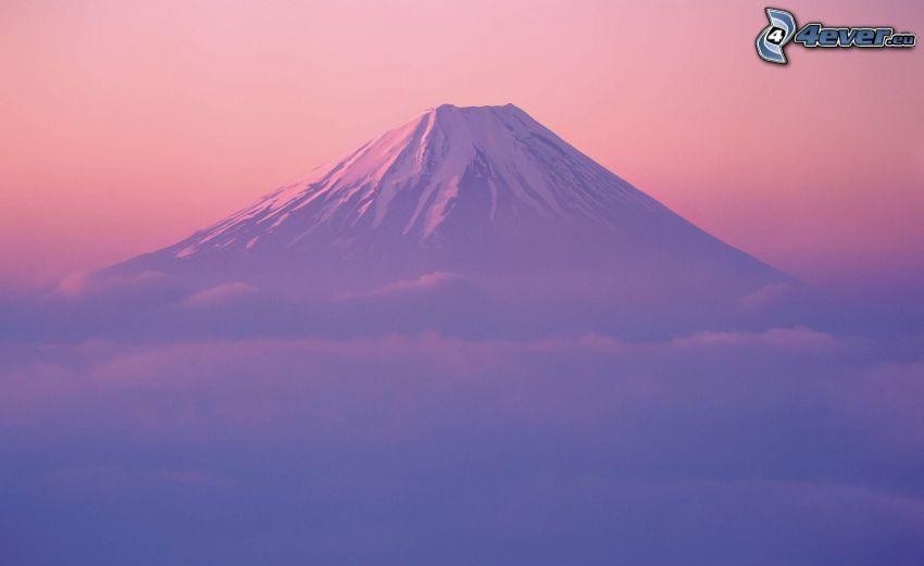 berget Fuji, snö, dimma