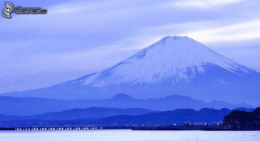 berget Fuji, snöigt berg
