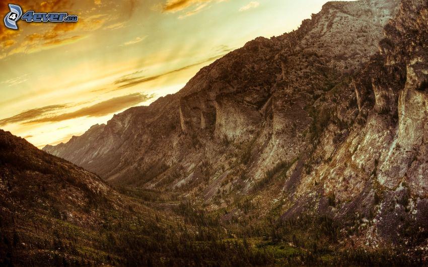 Blodgett Canyon, Bitterroot Mountains, Montana, USA, solnedgång i fjällen