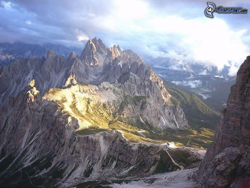 Dolomiterna, Italien, berg, klippor