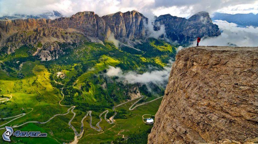 Dolomiterna, klippiga berg, utsikt, dal
