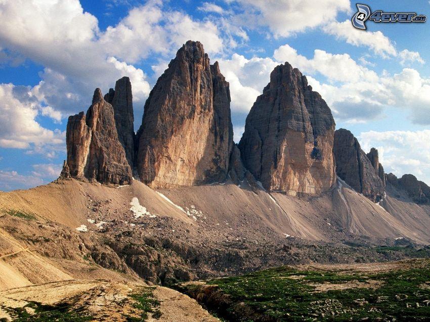 Dolomiterna, klippigt berg, moln
