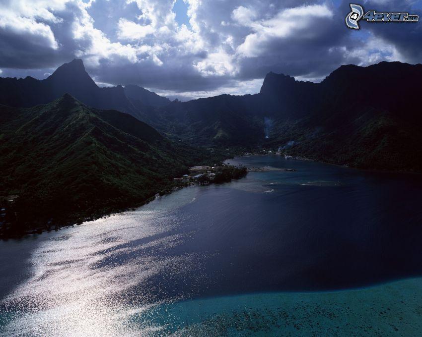 fjord, berg, vatten