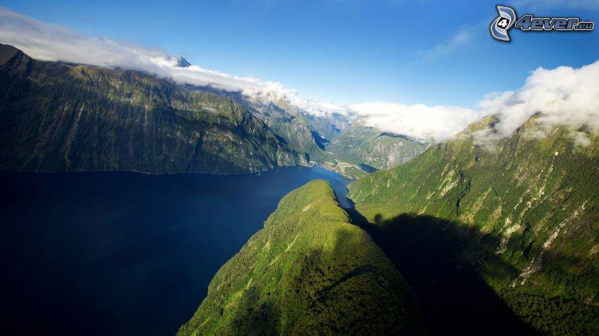 fjord, höga berg, hav, vik, moln