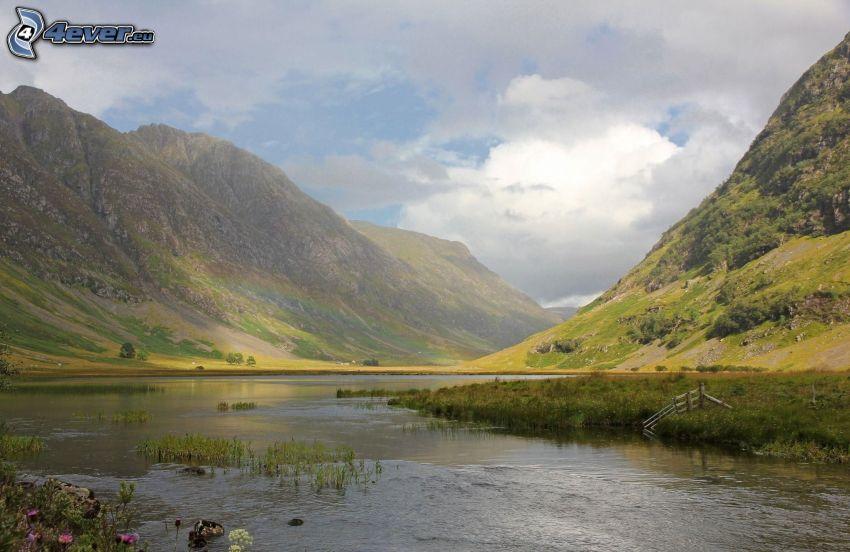 flod, steniga kullar