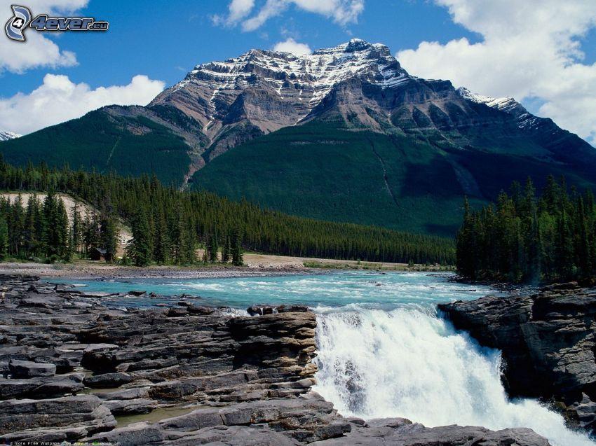 flod i skog, vattenfall, klippigt berg, barrskog