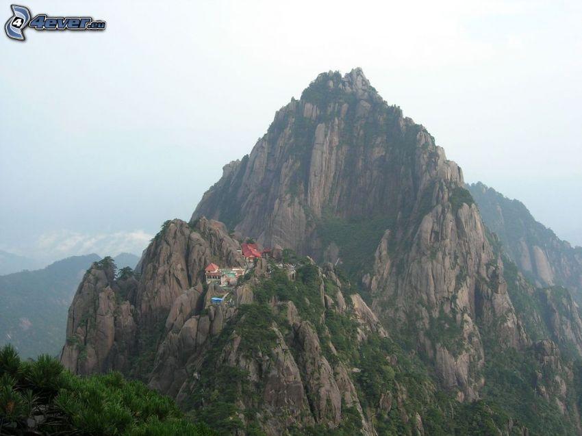Huangshan, klippiga berg, hus