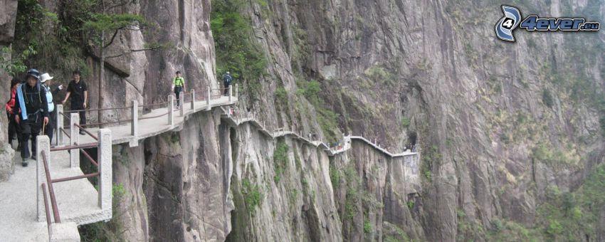 Huangshan, klippor, trottoar, turister