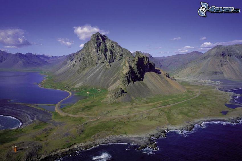 Island, fjord, berg, väg
